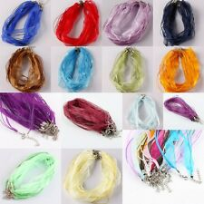 "Voile Silk Ribbon Cord Rope Lobster Clasps Chain Choker Necklace Finding 18-19""L"