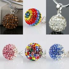 925 Sterling Silver Czech Crystal 10mm Disco Ball Pendant Charm Fit Necklace