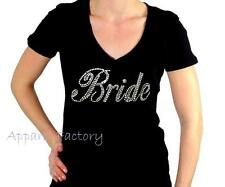 Brand New Rhinestone BRIDE  V Neck T SHIRT Pick Your Size Free SHIPPING!!