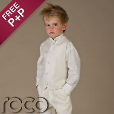 Boys Ivory Waistcoat Suit Wedding Pageboy Christening Communion Prom Suits