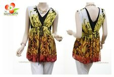 BK Orange Victorian Daisy Faux Silk Chiffon Pleated Layer Blouse Shirt Tank Top