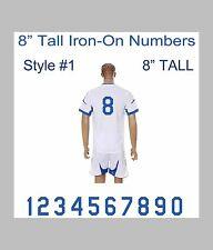 "8"" Tall Iron-On Number for Sports Jersey T-Shirt (Single Numbers 0-9) Style #1"