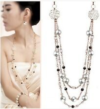 New Fashion metal crystal pearl long necklace options 3colour U pick