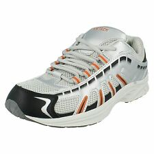 Mens Air Tech Lace Up Trainer, Synthetic/Textile, Silver/Orange, Stingray