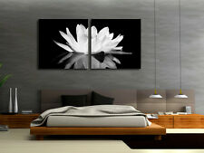 Black & White Lotus With Reflection On Canvas Prints Set Of 2 Choice Of Clock