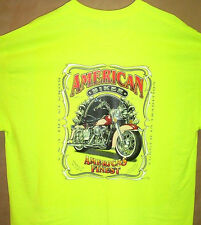 AMERICAN BIKER Safety Green T Shirt Sz SM - 5XL Awesome Motorcycle Born in USA