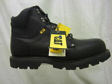 Mens Caterpillar Lace Up Steel Toe Cap Work Boot, Leather, Black, Grouser