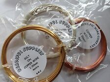 Copper Craft/Jewellery Wire - Silver Plated, Gilt or Copper 0.4 - 1.5mm Coils