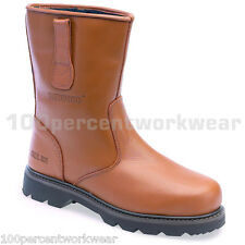 Redwood LH642SM Work Wear Safety Tan Rigger Leather Boots Shoes Steel Toe Mens