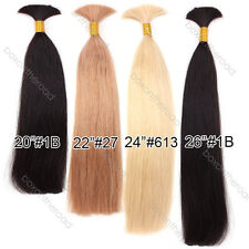 "20""-26"" Virgin Remy Human Hair Bulk Ponytail Braiding Real Hair Extensions 100g"