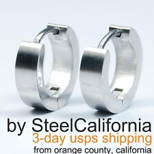 Mens Earrings Silver Huggie Hoops (Size XS, M, L, XL)