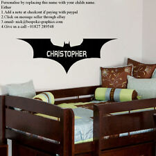 LARGE PERSONALISED NEW BATMAN LOGO FOREVER WITH FONT WALL TRANSFER STICKER DECAL