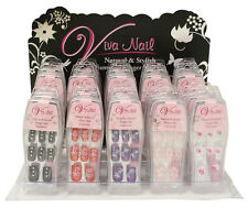 14 DESIGNER FALSE FAKE NAILS SET WITH GLUE STICK FOR GILRS LADIES NATURAL KIT