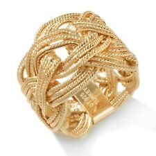 Technibond Braided Woven Band Ring 14K Yellow Gold Clad Sterling Silver 925