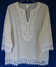 Coldwater Creek Crochet Lace Trimmed Kurta Style Pullover - COLORS!