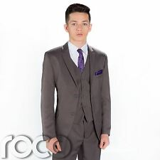 BOYS 3PC GREY PROM FORMAL PAGE BOY SUITS AGE 6m - 16 YRS
