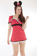 Red Sweet Miss Mischief Minnie Mouse with Ears Fancy Dress Costume Size 8 10 S M