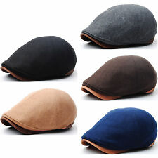 New Classy Design Men Style Wool Newsboy Cap Gatsby Flat Golf Hat Faux Leather