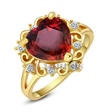 Jewelry 18K Yellow Gold GP Rhinestone Swarovski Crystal Ocean Heart Ruby Ring
