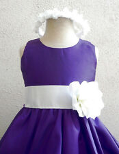 NEW PURPLE IVORY WEDDING BRIDESMAID PAGEANT PARTY RECITAL PROM FLOWER GIRL DRESS