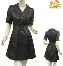 Women Black Faux Silk Satin Belted Double Breast Jacket Trench Dress Coat S M L