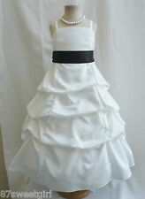 SPU IVORY BLACK  WEDDING PARTY RECITAL GOWN PAGEANT FLOWER GIRL DRESS