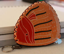 Handmade leather coin purse bags key chains. New!