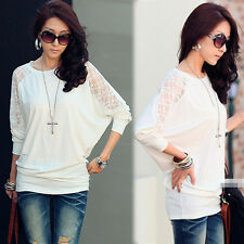 Trendy Womens Batwing Splicing See-through Lace T-shirt Tee Tops White Loose Fit