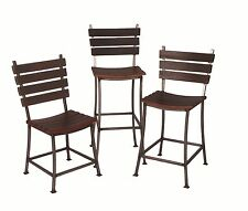 NEW AUTHENTIC WINE BARREL STAVE BACK & WROUGHT IRON BAR STOOL CHSE HEIGHT/STAIN