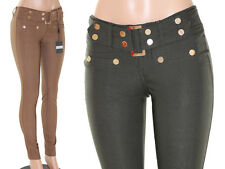 VIRGIN ONLY! Skinny Premium Stretch Belt Pants VO Jeans Womens slim Fitted Gold