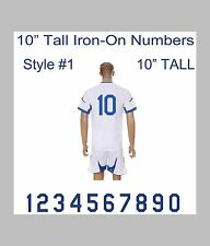 "10"" Tall Iron-On Number for Football Baseball Jersey Sports T-Shirt Style #1"