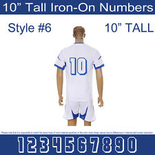 "10"" Tall Iron-On Number for Football Baseball Jersey Sports T-Shirt Style #6"