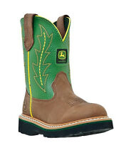 NEW John Deere Youth GREEN/BROWN Leather Boots FREE SHIPPING