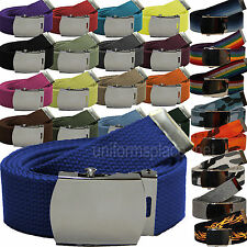 "Military Canvas Web Belt With Metal Buckle colors Fabric size 42"" 48"" 54"" 60"""