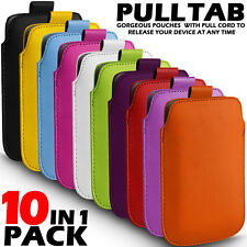 10 IN 1 PACK PULL TAB LEATHER POUCH SKIN CASE COVER FOR VARIOUS ACER MOBILES