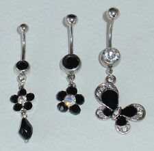BLACK CRYSTAL FLOWER or SPARKLY BUTTERFLY DANGLE NAVEL BELLY RING - choose one