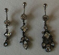 ANTIQUE CRYSTAL CHANDELIER DANGLE NAVEL BELLY RING - choose one style