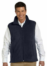Harriton Men's Midweight Full Zip Front Pockets Bottom Hem Fleece Vest. M985