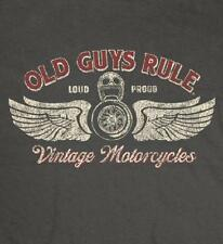 OLD GUYS RULE CLASSIC VINTAGE MOTORCYCLES CHARCOAL TEE SHIRT