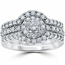 1.25CT Diamond Engagement Matching Wedding Ring Guard Set 14K White Gold (4-9)
