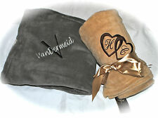 Personalized Super Lux Micro Plush Throw Blanket with Custom Embroidery-6 Colors
