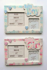 BABY BOY or GIRL Hanging Photo Frame with Birth Details Record - REALLY ORIGINAL
