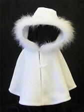 BABY CHRISTENING/WEDDING FLEECE MARABOU TRIMMED CAPE COLOUR WHITE ASSORTED SIZES