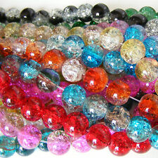 NEW - Glass Crackle Round Beads  - LOOSE in Cello Bag - FAST POST ! - UK SELLER