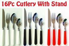 16 PC  Stainless Steel Dinner Cafe Cutlery Set With Wire Stand in Box By Orbit