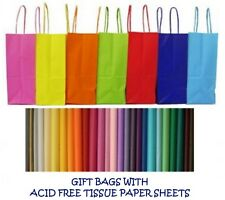 PARTY GIFT BAGS x 5 - WITH TISSUE PAPER - BIRTHDAY ~ WEDDINGS ~ CHRISTENINGS