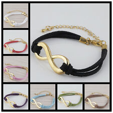 Fashion Curved Side Ways Golden Infinity Connector Charm Adjustable Bracelet