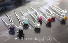 9 Colours 3pcs/6pcs Premium Crystal Wedding Bridal Pearl Flower Hair Pin Clips