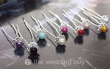 9 Colores 3pcs/6pcs Premium Crystal Wedding Bridal Perla Flor Cabello Pin Clips