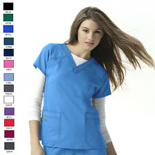 NWT WonderWink Uniform 6214 Four-Stretch Sporty V-Neck Scrub Top XS-3X 14 Colors